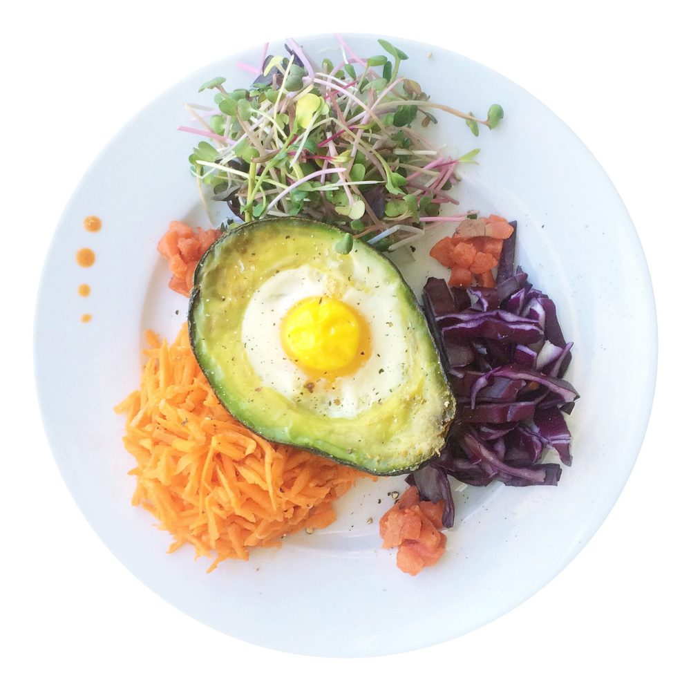 Baked Avocado Egg with Microgreens and Smoked Salmon