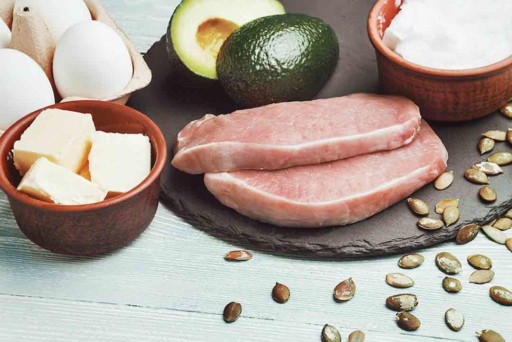Ketogenic diet, fad diet foods including butter, eggs, avocado, meat, and coconut oil