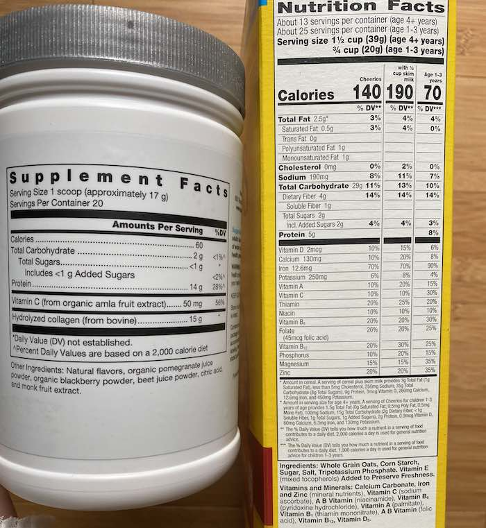 supplement facts vs nutrition facts labels
